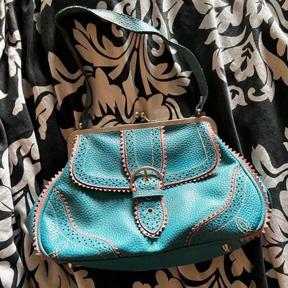 Teal and Pink Vintage purse